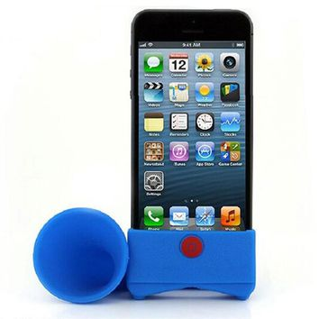 Creative Silicone iPhone Speaker Horn Shape Cell Phone Loudhailer Phone Accessories Phone Holder Stand Gift