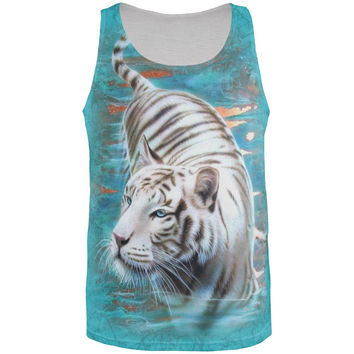 White Tiger Swim All Over Adult Tank Top