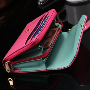 Mini Handbag Case for iPhone 4 4s / 5 5s / 5c etc. Smat Phone Wallet Pouch Bag Cover Crown Envelope Case & Card Holster RCD00282