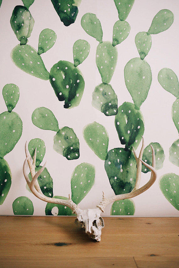 watercolor cactus large wall mural from anewalldecor on