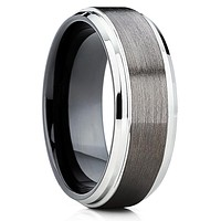 Black Tungsten Band - Men's Tungsten Ring - Gunmetal Ring - 8mm