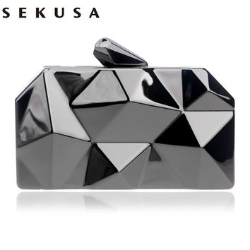 NEW HOT  geometric shaped tin box case evening  bags clutch purse handbags clutch evening bags women purse bags