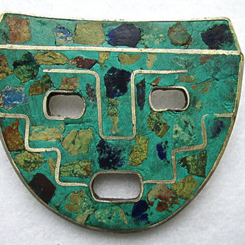Mexican Silver Mask PIn Sterling Inlaid Turquoise