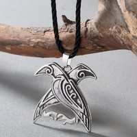 CHENGXUN New Design Valknut Pagan Amulet Necklace Norse Viking Mythology Jewelry Odin's Ravens Pendant Bird Talisman Necklace