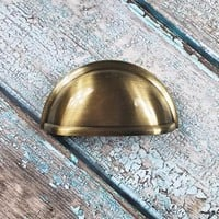 Antiqued Gold Apothecary Bin Cup Pull Gold Drawer Pull Dresser Drawer Pull Antiqued Gold Dresser Hardware Brushed Gold Cabinet Pull
