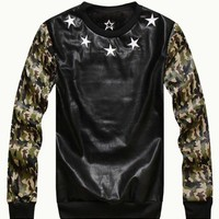 Black Unisex Leather Sweatshirt With Camo Sleeves - Choies.com