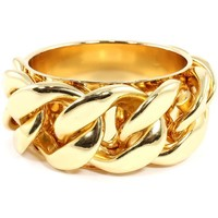"8"" gold metal link chain bangle bracelet cuff"