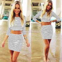 2PC Suit Sexy Long Sleeve Striped Crop Top T-shirt and Skirt Set