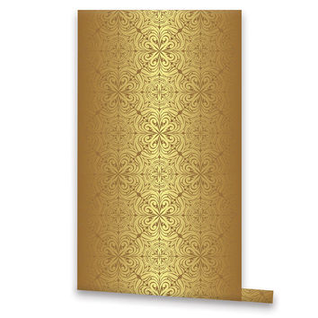 Golden Vintage Style WALLPAPER, Removable Vinyl Self Adhesive Bling Wallpaper, Wall Decal, Peel & Stick, Geometric Pattern Wallpaper