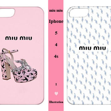 Iphone 5  / 4 / 4s Case  - Miu Miu Fashion Cover - Iphone 5 case,Iphone 4/4s case,Iphone 5 cover,Iphone 4 /4s cover,Iphone 5 /4 / 4s skin
