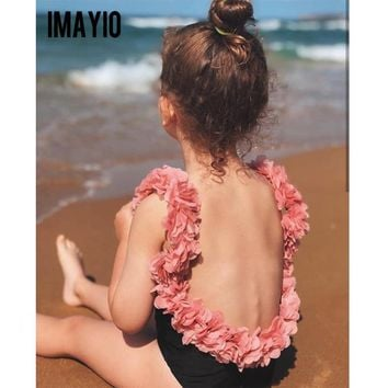Imayio Children Swimsuits  Baby Girls One-piece Swimsuit  3D Floral Open Back Bathing Suit  for Kids Bodysuit