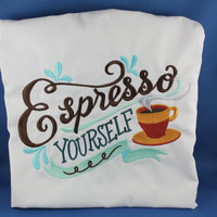 Embroidered Espresso Yourelf Apron with Pockets