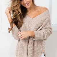 With Conviction knit in mocha marle Produced By SHOWPO