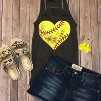 Softball Heart Tank