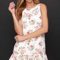 Lucca Couture Little Bo Chic Ivory Floral Print Dress