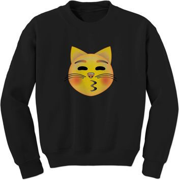 Color Emoticon - Cat Face Smiley Adult Crewneck Sweatshirt