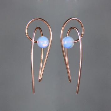 14k rose gold opalite 3D sculpture teardrop silver wire wrapped earrings Bridesmaids gifts Free US Shipping handmade Anni Designs