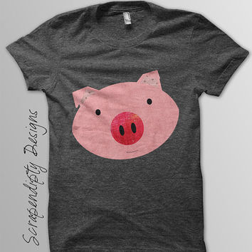 Pink Pig Iron on Transfer - Farm Animals Iron on Tshirt PDF / Girls Pig Shirt / DIY Hippie Baby Clothes / Kids Boys Clothing Top IT25