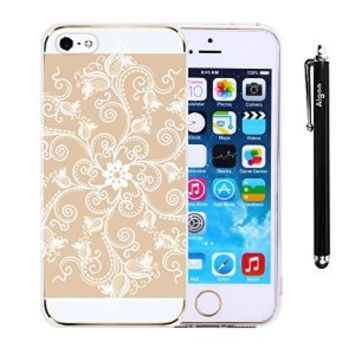 AiGoo Apple IPhone 5 5S 5G Case, Newly Fashion Stylish iPhone 5 5s 5G Cover,Classical Relief Crafts White Spiral Tulip aisley Mandala Floral Flower Vintage/Retro Pattern PC Hard Clear Case Cover Ultra Slim Fit For iPhone5 5s 5G