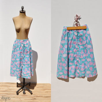 Vintage Lilly Pulitzer Skirt • 1960s Seashell Maxi • High Waisted  • Small