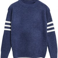Navy Blue III Bar Print Sweater - OASAP.com