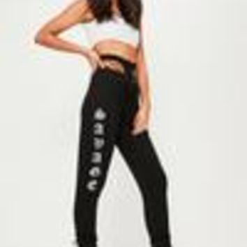 Missguided - Black Savage Logo Joggers