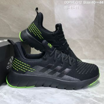 AUGUAU A489 Adidas Low Shock Non-skid Casual Running Shoes Black Green