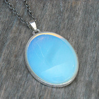 Moonstone Necklace, Crystal Necklace, Gemstone Necklace, Opal, Opalite, Blue Moonstone, Oval Moonstone, Moonstone Pendant,