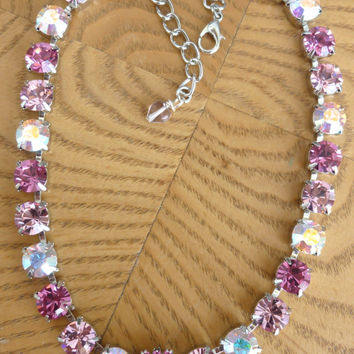 swarovski crystal choker-pink heart-better than sabika-bridesmaid-GREAT PRICE
