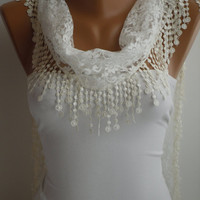 White Lace Scarf- Shawl Headband  Cowl with Lace Edge