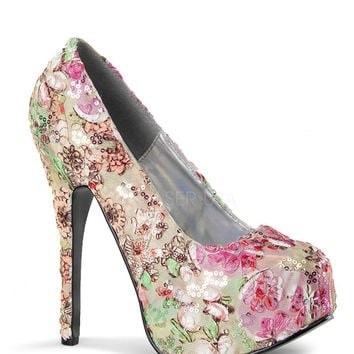 Bordello Teeze Floral Sequin Platforms