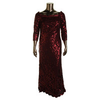Tadashi Shoji Womens Sequined Lace Elbow Sleeves Evening Dress