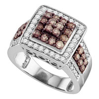 Cognac Diamond Ladies Fashion Ring in 10k White Gold 1.53 ctw