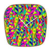 Renie Britenbucher Abstract Sailboats Neon Modern Clock
