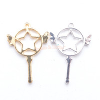 Magical Winged Star Wand Open Bezel Metal Charm - 4 pieces