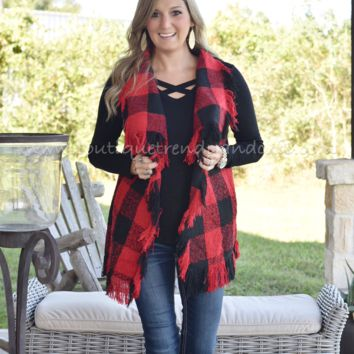 WRAPPED UP IN YOU FRINGE BUFFALO PLAID VEST