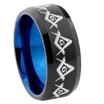 8mm Masonic Square and Compass Bevel Tungsten Carbide Blue Mens Promise Ring
