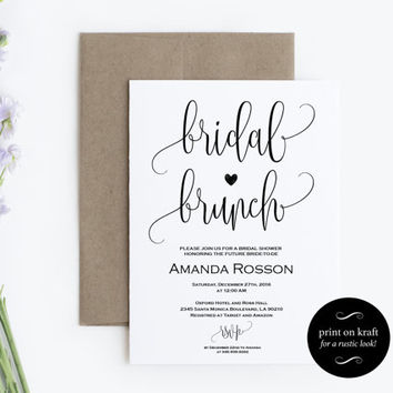 Printable Bridal Brunch Invitation - Bridal Shower Template - Kraft Paper Bridal Brunch Invite - PDF Instant DOWNLOAD and editable #WDH0080