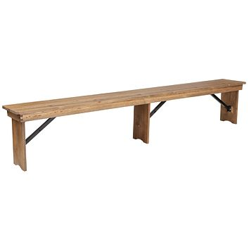 HERCULES Series 8' x 12'' Solid Pine Folding Farm Bench with 3 Legs