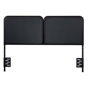 Queen size Memory Foam Padded Steel Frame Black Faux Leather Headboard