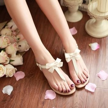 Genuine Leather Fashion Butterfly-knot Charms Summer Women Flats Sandals Women Shoes
