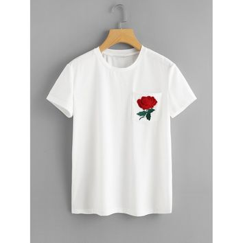Floral Embroidered Pocket Patched Tee