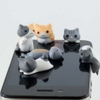 6pcs Cheese Cat 3.5mm Anti Dust Earphone Jack Plug Stopper Cap for Iphone HTC