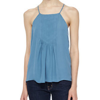 Joie Larisse Pleated-Front Silk Top