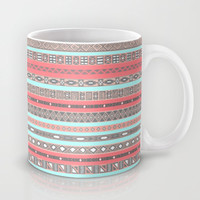 Peach Rose Baby Blue Aztec Tribal Native Pattern Mug by RexLambo