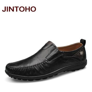 men shoes fashion casual genuine leather men loafers slip on male flats shoes