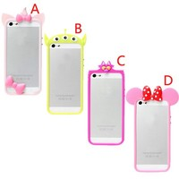 S9Q 3D Animal Bow Bowknot Cute Cartoon Silicone Soft Case Cover Skin Bumper Frame For iPhone 5 5S Style D