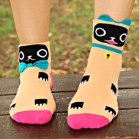 Kitty Cat Shaped Animal Short Cotton Socks for Women in Apricot Orange from DOTOLY