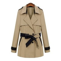 ZLYC Women Lady Fashion Double Breasted Contrast Belt Trim Trench Coat Jacket