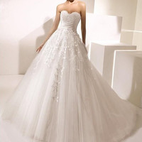 Attractive applique organza A-line wedding dress sweetheart custom size party dresses